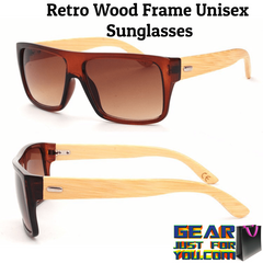 Amazing Retro Designed UV Protected Unisex Rectangle Wooden Frame Sunglasses
