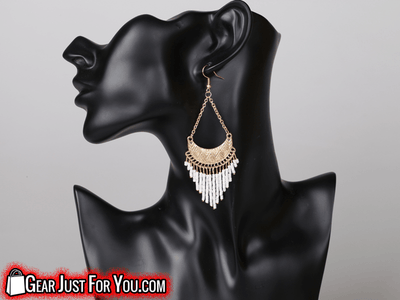 Eco-Friendly Peacock Design Alloy Fabric Rhinestone Crystal Long Tassel Earring - Gear Just For You.com