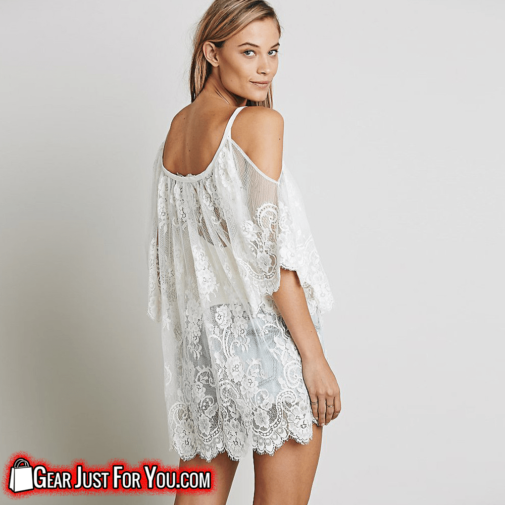 Fashionable Sexy Women's Floral Crochet Strap Laced Bohemian Summer Beach Dress