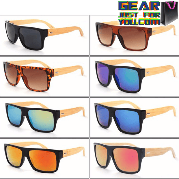 Amazing Retro Designed UV Protected Unisex Rectangle Wooden Frame Sunglasses - Gear Just For You.com