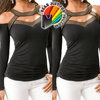 Charming Chic Hollow Design Deep V-Neck Long Sleeve Fashionable Casual Top - Gear Just For You.com