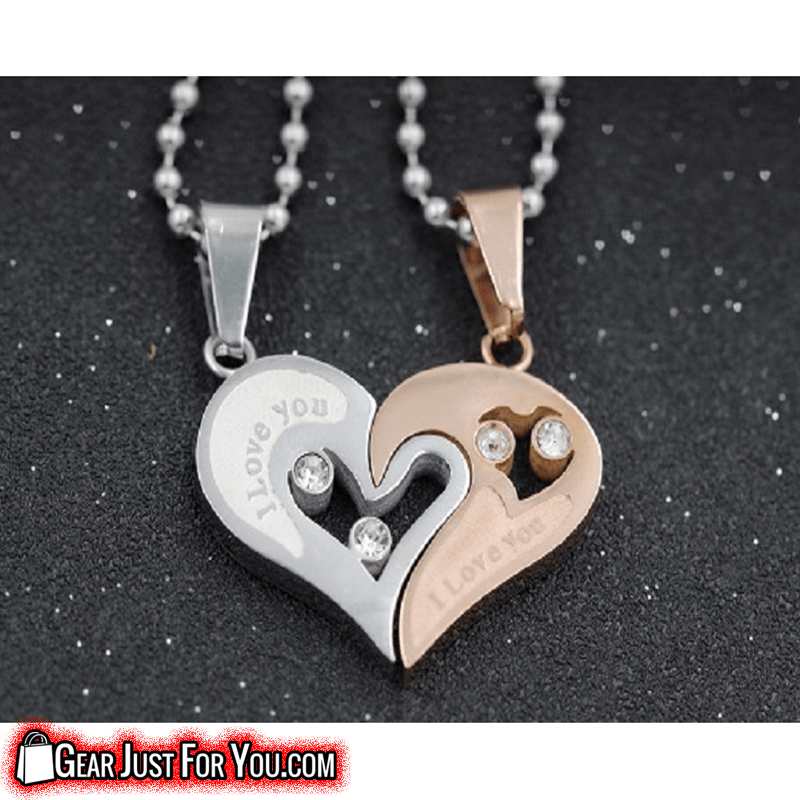 Romantic i love you engraved hip hop heart shaped couples pendant romantic i love you engraved hip hop heart shaped couples pendant necklaces aloadofball Image collections