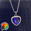 Titanic Ocean Heart Shape Dark Blue Crystal Necklace