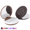 Cute Chocolate Cookie Round Shaped Comb Inside Pocket Makeup Mirror