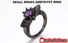 Amazing Environmental Standard Vintage SKULL-WINGS Amethyst Ring - Gear Just For You.com