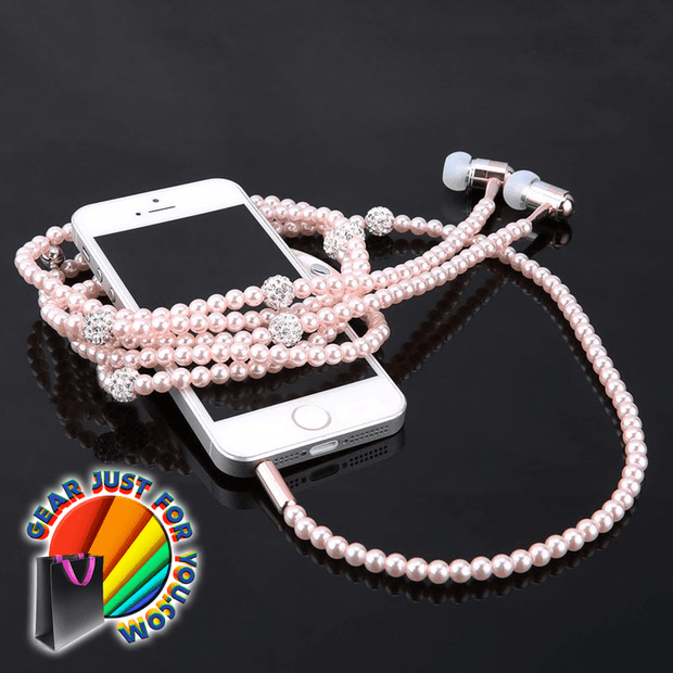 Exclusive Pearl Necklace Dynamic Sound 3.5 mm Audio Device Mic Beads Earphone