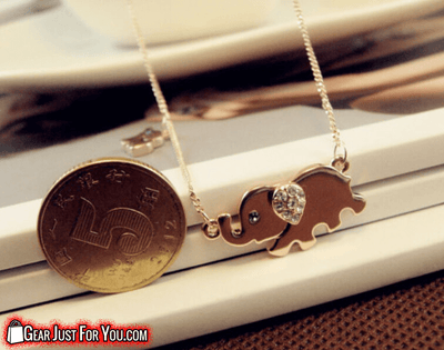 Most Charming Alloy Crystal Elephant Walk Design Chain Pendant Necklace - Gear Just For You.com