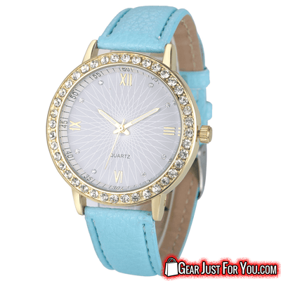 Most Stunning Analog Quartz Leather Band Women's Round Casual Crystal Wrist Watch - Gear Just For You.com