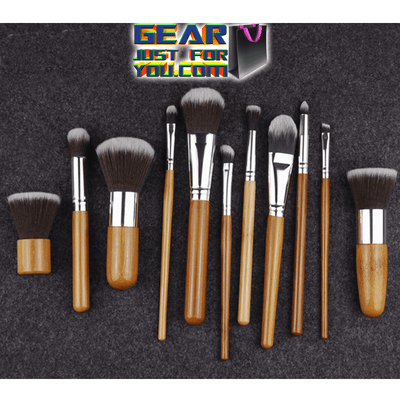 11Pcs Natural Non-Allergic Bamboo Handle Nylon Fiber Professional Makeup Brush Set