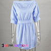 Split Slimmer Blue Stripe Empire Wrist Turn-down One Shoulder Neckline Summer Shirt - Gear Just For You.com