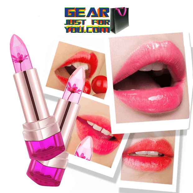 Unique Temperature Control Moisturizing Jelly Flower Transparent  Jelly Lip Gloss