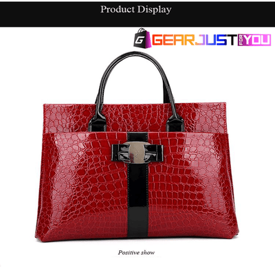 Fashionable Alligator Leather Metal Icon Durable Handbag for Women