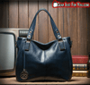 Genuine Leather Soft Carrying Durable Lining Drum-Shaped Casual Tote Hand Bag