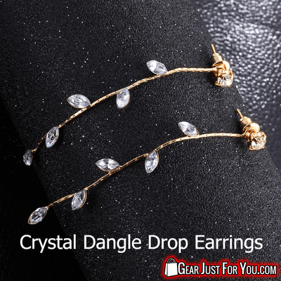 Classic 17K Zinc Alloy Crystal Dangle Drop Trendy Earrings - Gear Just For You.com