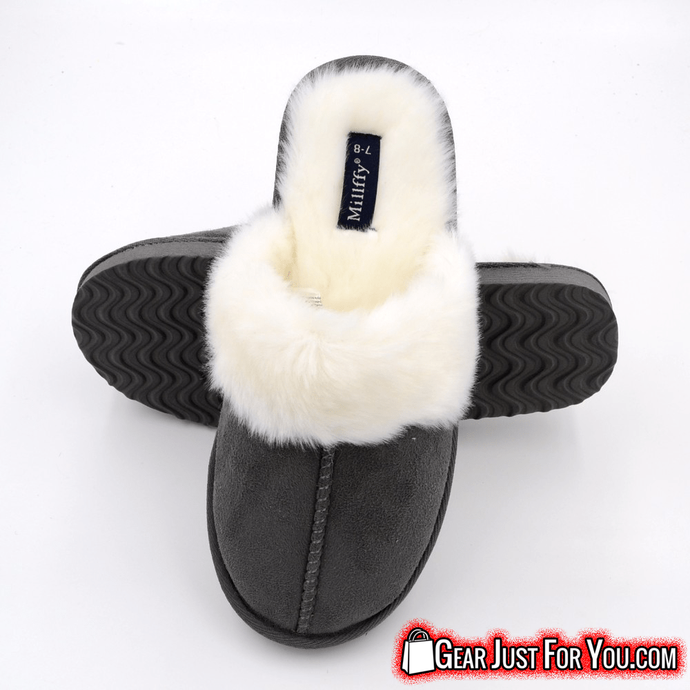 589521c6b46 Amazing Solid Design Suede Leather Rabbit Fur Unisex Flat Winter Warm Foam  Slippers - Gear Just