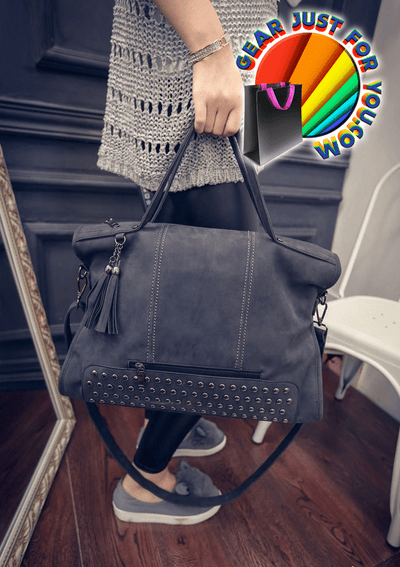 Amazing LEATHER Versatile Rivet LARGE CAPACITY Casual Tote Fashion Messenger Bag - Gear Just For You.com