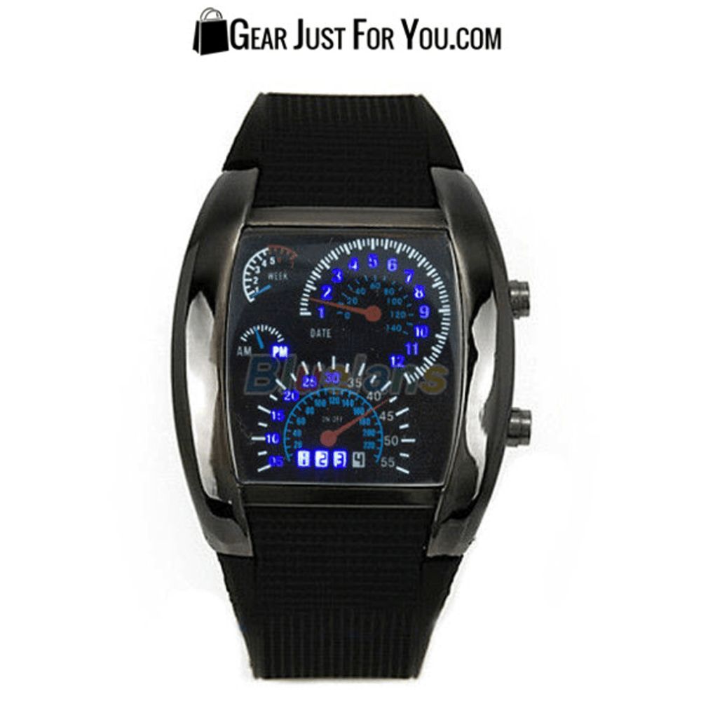 Awesome Rpm Turbo Blue Flash Led Sports Car Meter Dial Watch Gear