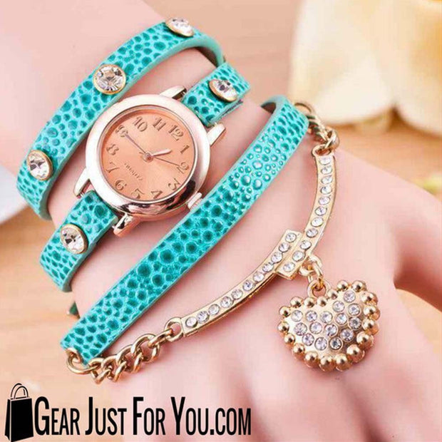 Crystal Quartz Leather Band Bracelet with Easy to Read Wrist Watch Handmade - Gear Just For You.com