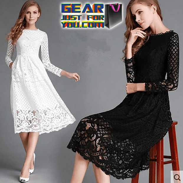 Elegant Laconic Style Women's Lace Patterned Hollow Long Sleeve Casual Dresses