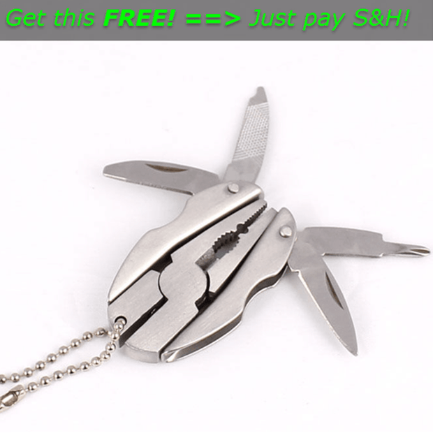 Hot Offer FREE Pocket Multi Function Tools Set Mini Foldaway Keychain Pliers Knife Screwdriver