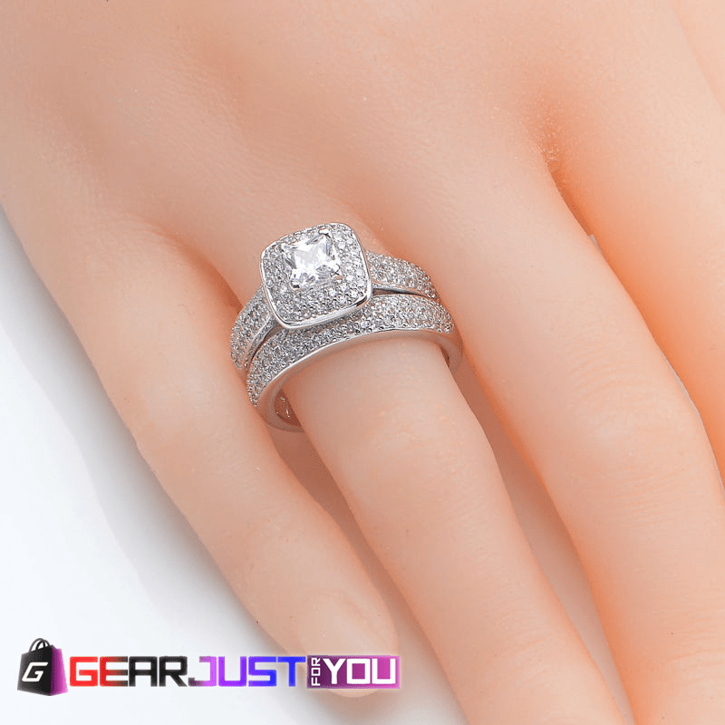 Women Wedding Rings.Luxurious Princess Style Cubic Zirconia Crystal Women S Wedding Ring