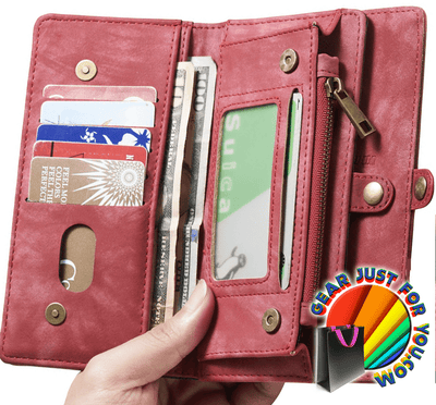 Ultimate Functional All-In-One Handmade TRIFOLD LEATHER Removable iPhone Wallet