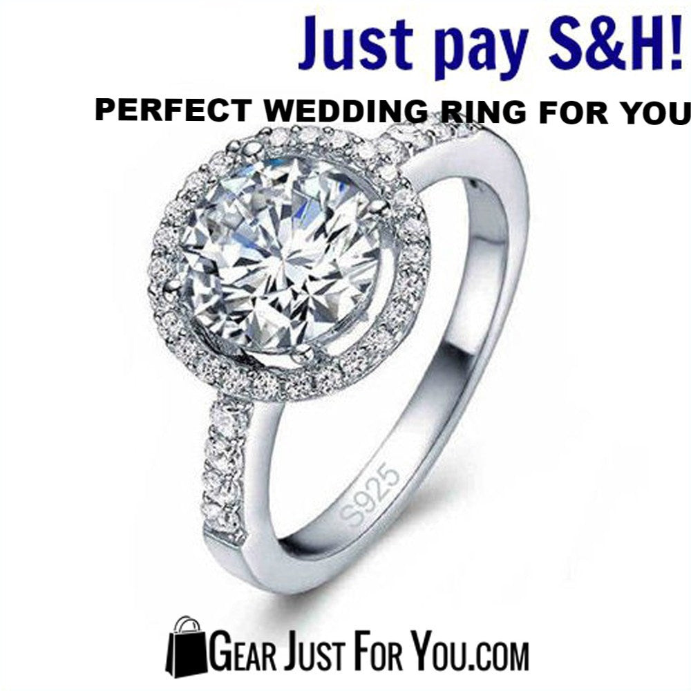 925 Sterling Silver Zirconia New Wedding Ring Size 6-9 - Gear Just For You.com