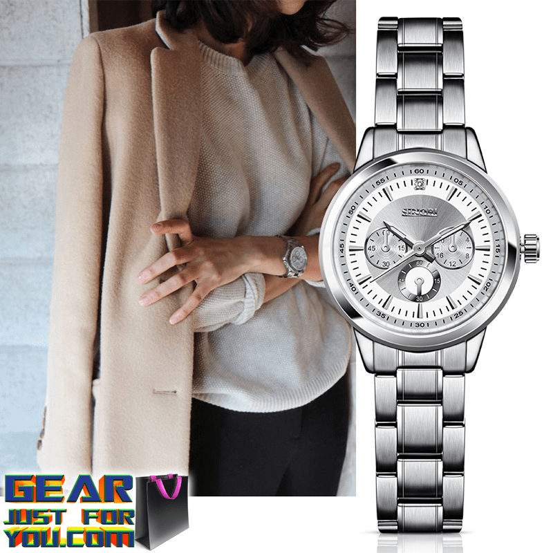 2aeb2150e76 Luxurious Impact Resistance Waterproof Stainless Steel Women s Analog  Quartz Wrist Watch - Gear Just For You