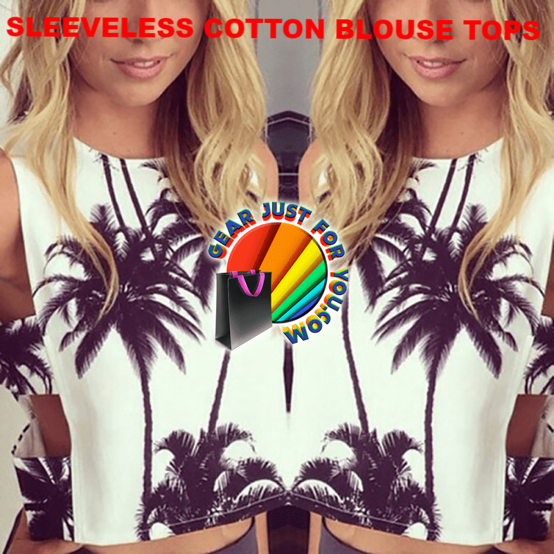 Amazing Coconut Tree Printed Crew Neck Sleeveless Women's Cotton Blouse Tops - Gear Just For You.com