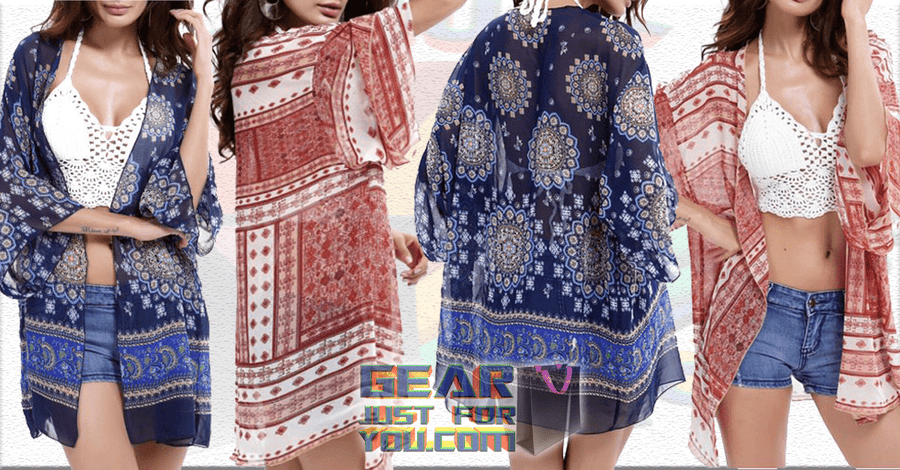 4760c1ece38 Special Laser-cut Allover Tribal Design Lightweight Beach Cover Up - Gear  Just For You