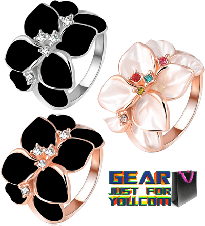 Austrian Crystal Enamel Flower Shaped Women's Wedding Ring