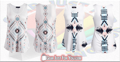 Aztec Style SLEEVELESS Natural Waistline Summer Tops - Gear Just For You.com