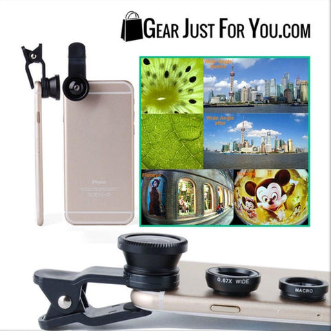 Image of Universal 3in1 Clip On Camera Lens Kit Fisheye +Wide Angle +Macro for Cell Phone - Gear Just For You.com