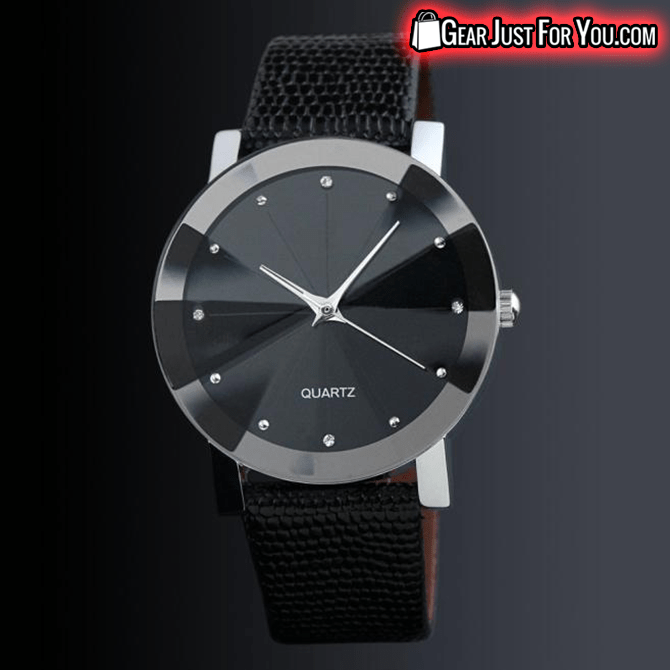 Quartz Sport Military Stainless Steel Luxury Leather Black Wrist Watch - Gear Just For You.com