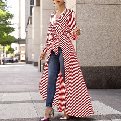 Women 2019 Autumn Fashion Casual Long Shirt Workwear Office Formal V-Neck