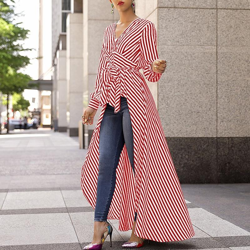 98d839a9536 Women 2019 Autumn Fashion Casual Long Shirt Workwear Office Formal V-Neck