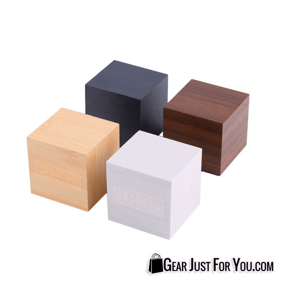 Cube Style Multi Functional Wood Material LED Design Clock Timer  Thermometer Calendar