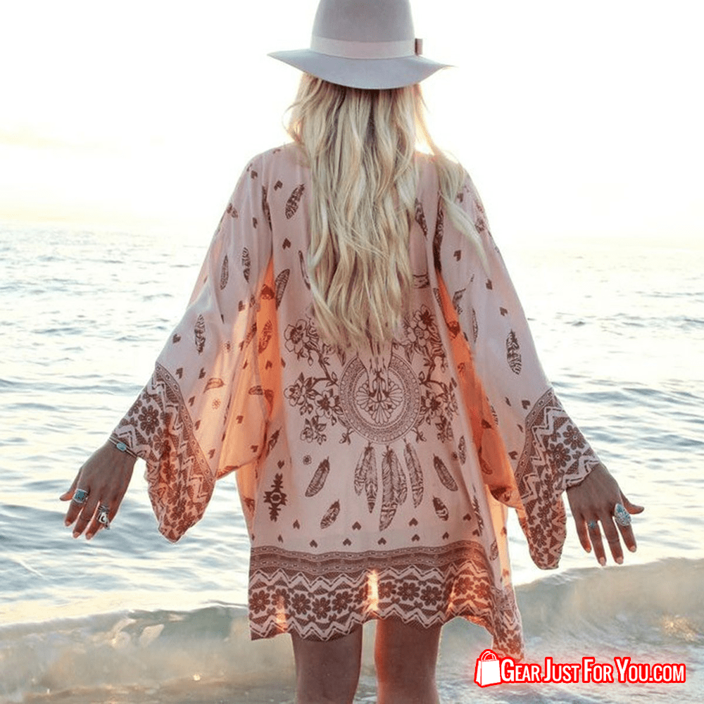 Unique Vintage Floral Shawl Kimono Cardigan Boho Chiffon Tops - Gear Just For You.com