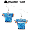 Hot Offer Broncos Glitter Jersey Earrings Great for Denver Fans
