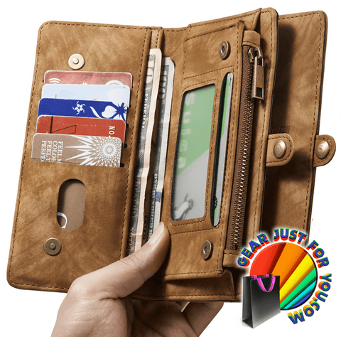 Image of Ultimate Functional All-In-One Handmade TRIFOLD LEATHER Removable iPhone Wallet Elegant Finish Case Cover for iPhone