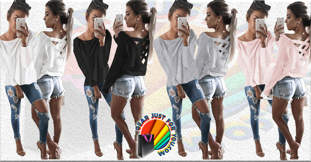 Fashionable Loose Fit Long Sleeve Criss-Cross Back Tops
