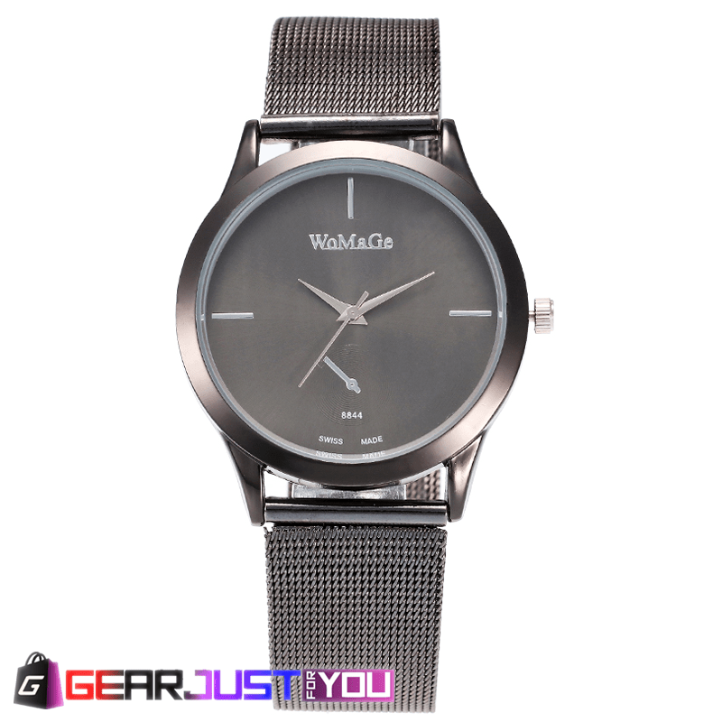 Classic Two-Piece Glossy Strap Stainless Steel Analog Quartz Watch