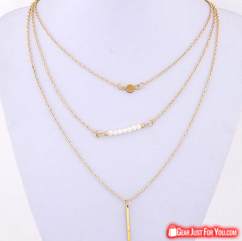 Elegant 3 layer chain bar necklace beads and long strip pendant elegant 3 layer chain bar necklace beads and long strip pendant mozeypictures Images