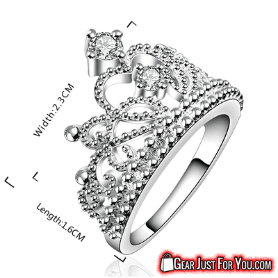 Stunning Vintage Style Sparkling Crystal Geometric Shape Women's Crown Silver Ring - Gear Just For You.com