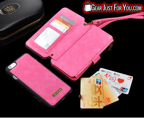 Smart Design Genuine Multi-function Leather Zipper Wallet Card Case Cover For iPhone 5/5S/6/6S/7 Plus + Strap - Gear Just For You.com