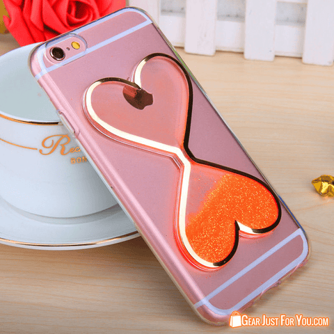 Image of Beautifully Designed Love Heart Glitter Quicksand Case for Apple iPhone - Gear Just For You.com