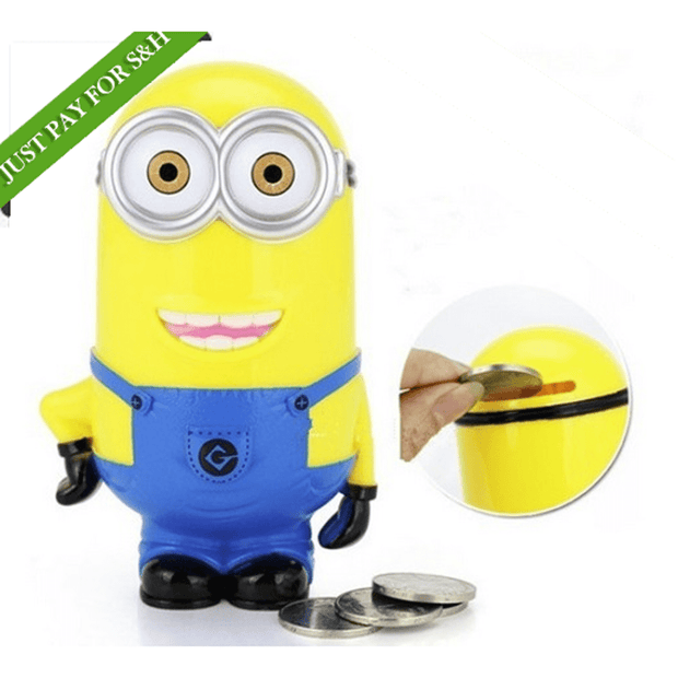 "Hot Offer 3D Minions Cartoon ""Piggy Bank Money Box"" Perfect Saving Bank Kids and Children Gift Toy"