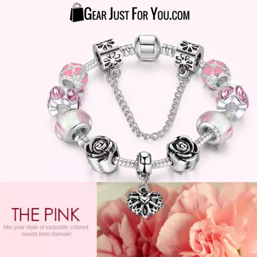 Authentic 925 Silver Hearts Charm Bracelet with Roses - Gear Just For You.com