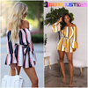 Beautiful Off-Shoulder Stripe Pocketed Romper