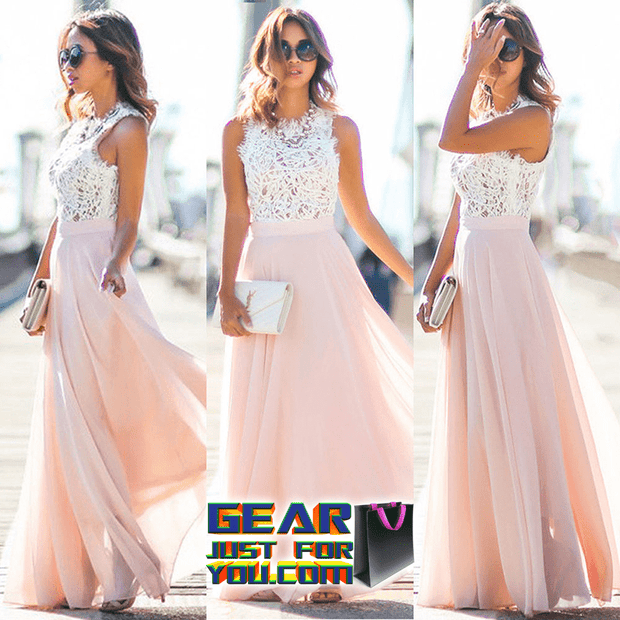 Super Hot Boho Fashion Floral Lace Sleeveless Women's Long Maxi Sundress